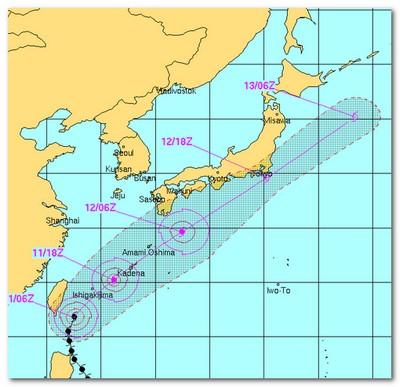 アメリカ軍の台風進路予想