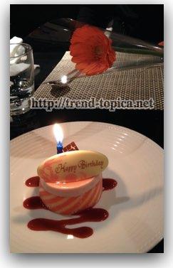 カスケイドカフェ 誕生日ケーキと花